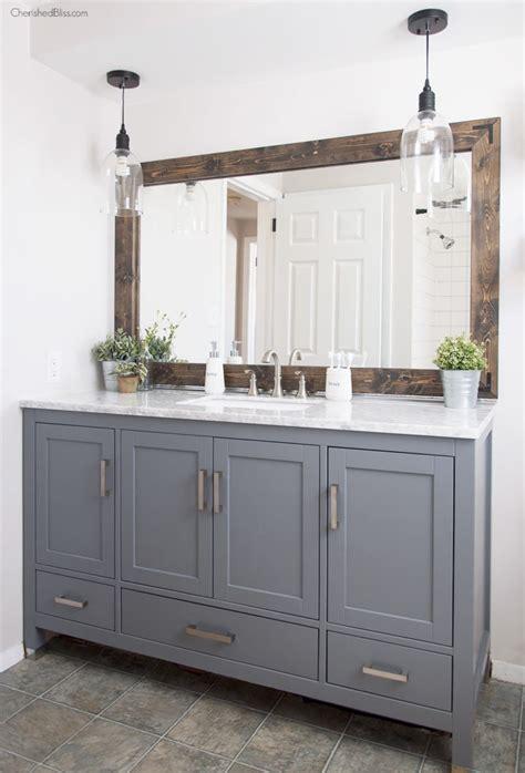 Diy Industrial Bathroom Mirror by Industrial Farmhouse Bathroom Reveal Cherished Bliss