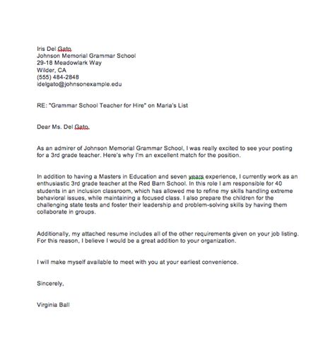 Cover letter samples and templates to inspire your next application. Sample Teacher Cover Letter With Experience | Top Form ...