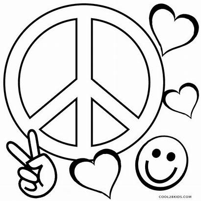 Coloring Peace Pages Heart Sign Printable Signs