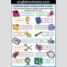 Classroom Objects Esl Printable Missing Letters In Words Worksheets For Kids #classroom #objects