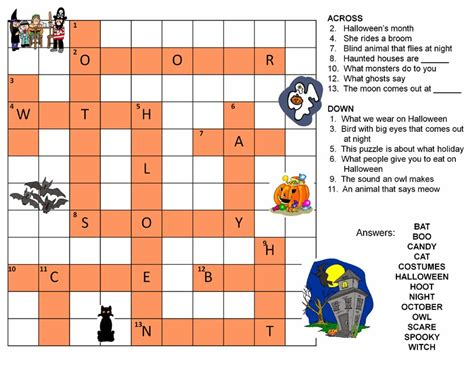 crossword puzzle halloween printable festival collections