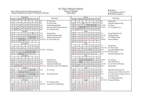 school calendar st clares primary school