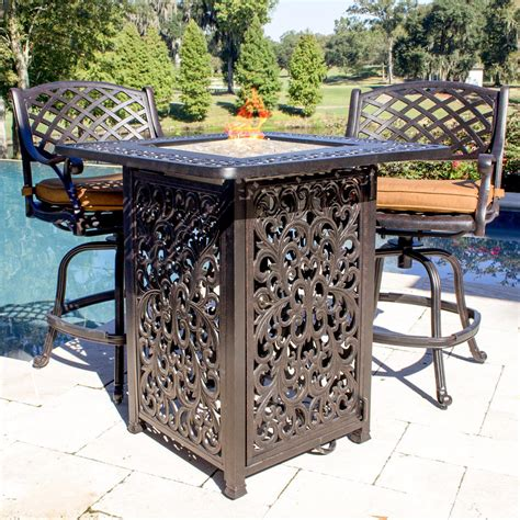 bar height patio table with pit heritage 2 person cast aluminum patio counter height