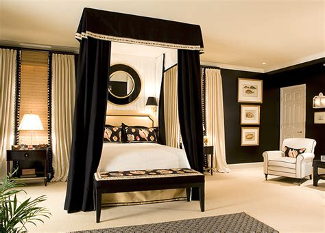 black canopy bed curtains black trim is the decorating accent