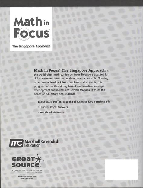 Math In Focus Singapore Math Homeschool Answer Key Grade 5 (061470) Details  Rainbow Resource