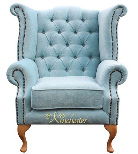 Duck Egg Blue Armchair by Chesterfield Fabric High Back Wing Chair Duck