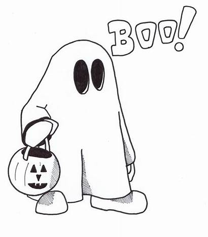 Ghost Pages Coloring Halloween Printable Clipart Cartoon