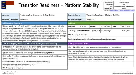 transition readiness platform stability project nc