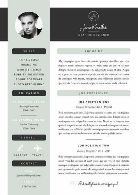 Graphic Design Resume Template Indesign by Great Exle Of A Creative And Modern Resume Template Foe
