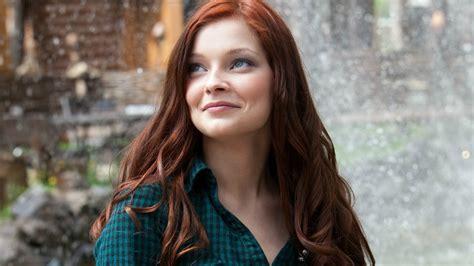 Women Redhead Model Shirt Long Hair Face Bokeh