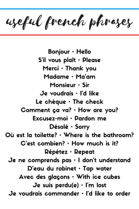 Useful French Phrases | Useful french phrases, Basic ...