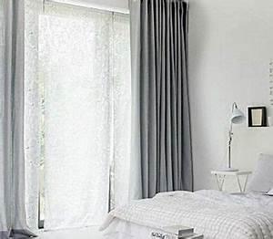 Double Rideau Blanc : chambre blanche double rideaux gris souris chambres rideaux gris chambre rideaux gris et ~ Nature-et-papiers.com Idées de Décoration