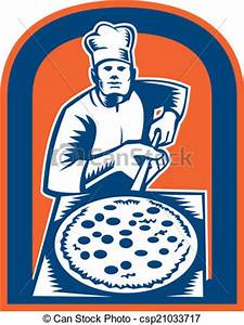 Pizza Maker Holding Pizza Peel Shield... - Royalty Free ...