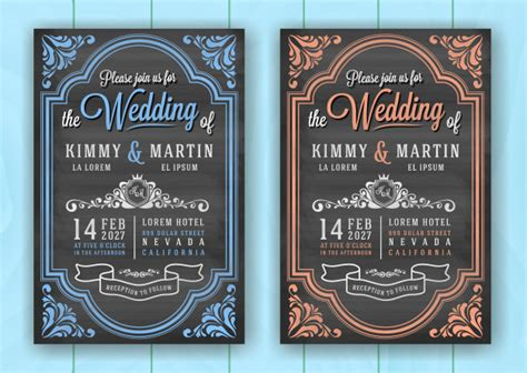 Vintage chalkboard wedding invitation card template Vector