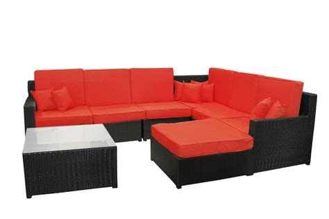 8 black resin wicker outdoor furniture sectional