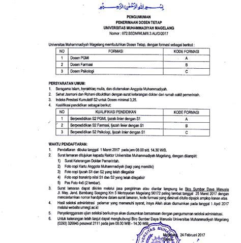 Lalu, instansi atau lembaga dan kementerian mana saja yang memiliki formasi bagi lulusan sma smk, dapat disimak di bawah ini Lowongan Kerja Penerimaan Dosen Tetap Universitas Muhammadiyah Magelang (UMMGL) 2017 - Lowongan ...