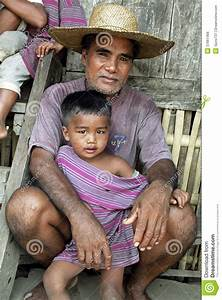 Family Portrait Of Filipino Father And Child Editorial ...