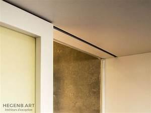 Rail Faux Plafond : porte coulissante avec vitre satin e et rail encastr dans ~ Mglfilm.com Idées de Décoration