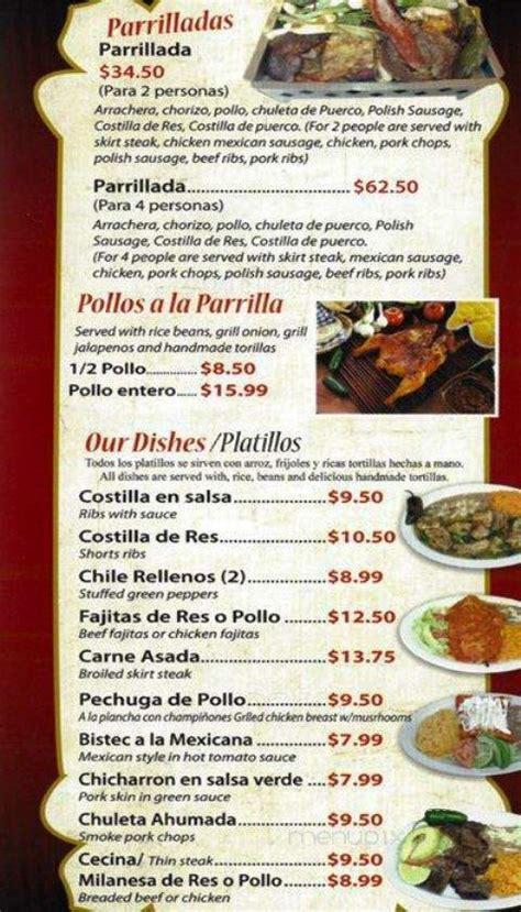 Menu of Parrilladas Mexican Grill in Cicero, IL 60804