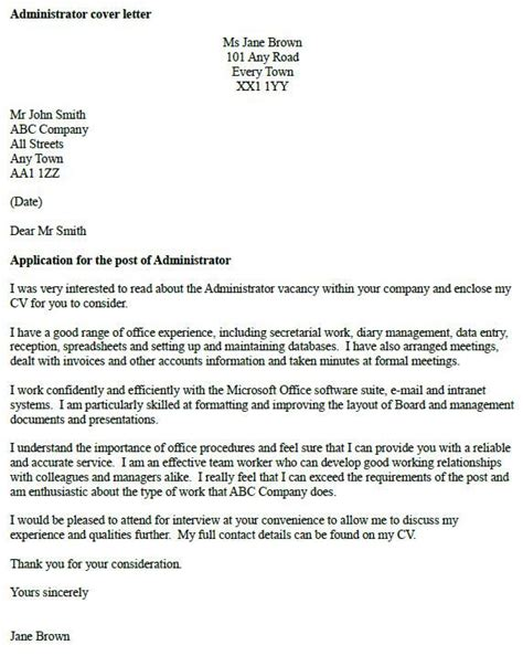 Administrator Cover Letter by Best 10 Cover Letter Exles Ideas On Cover