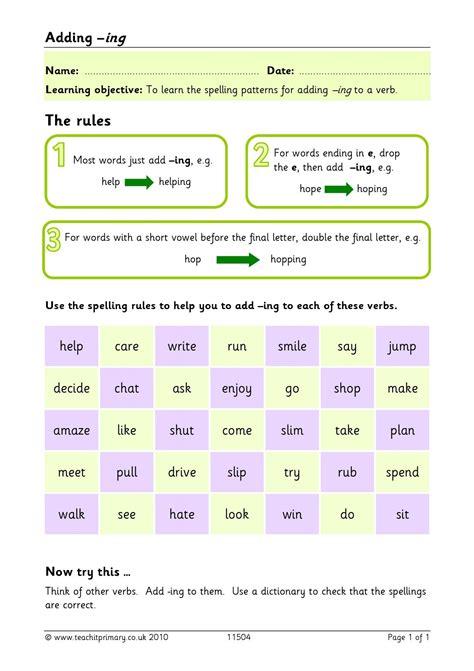 Worksheets Adding Ing  Worksheet Example
