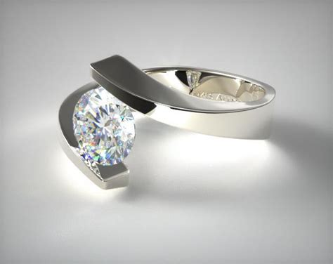 Spiral Tension Set Engagement Ring | 14K White Gold | 8809W14