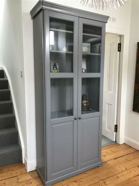 Ikea Bookcases With Glass Doors by Grey Bookcase With Glass Doors Ikea Liatorp In Cupar