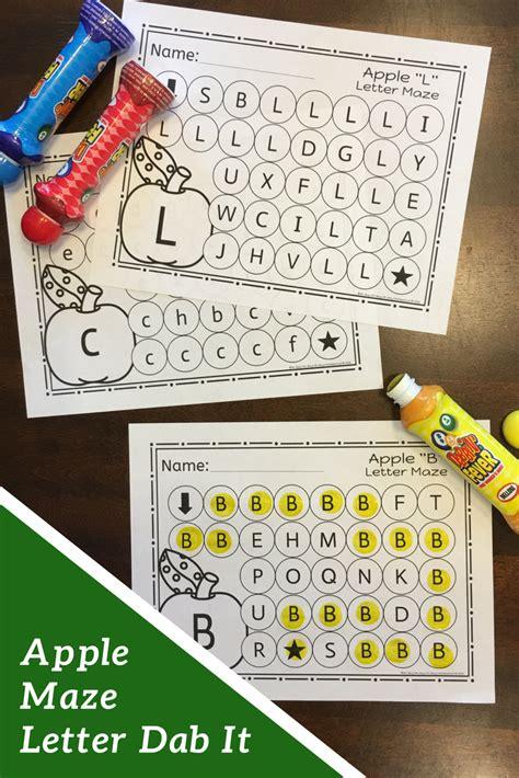 apple letter maze worksheets  images alphabet