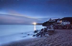 Sea lighthouse home night stars beach wallpaper ...
