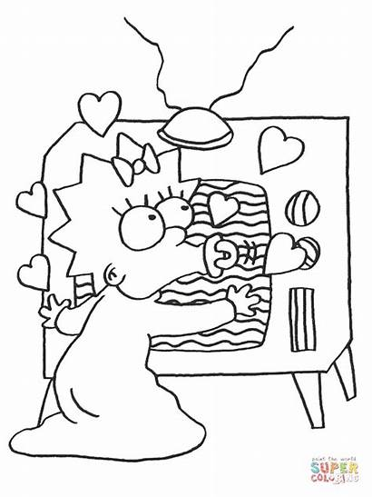 Coloring Tv Pages Watching Maggie Printable Drawing