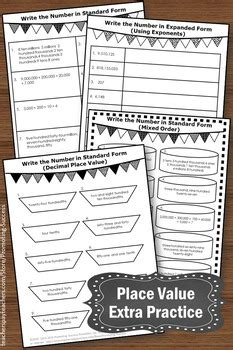place  worksheets  grade math review standard form