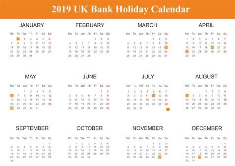 Free Uk (united Kingdom) Bank Holidays 2019 Calendar