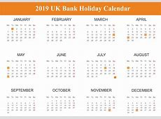 Free UK United Kingdom Bank Holidays 2019 Calendar