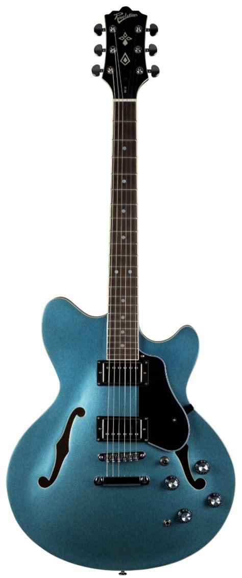 revelation rt  metallic blue semi acoustic guitar
