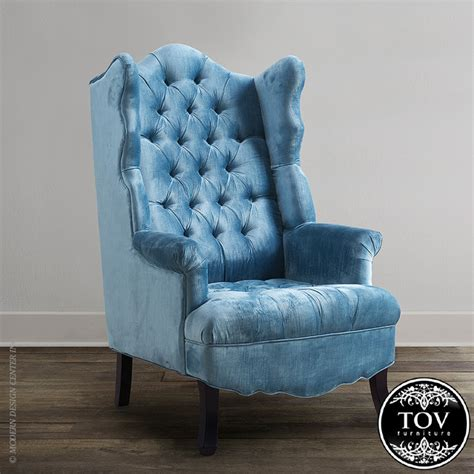 tov blue velvet wing chair modern armchairs