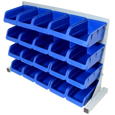 20pce Free Standing Blue Plastic Storage Bin Kit Garage