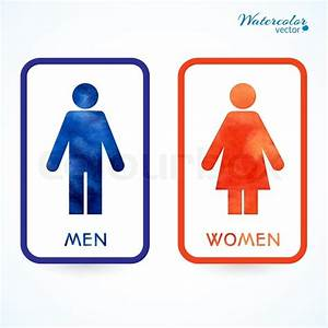 Watercolor signs toilet changing room male female wc for Men and women bathroom symbols