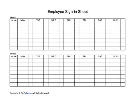 employee sign in sheet template two week employee sign in sheet template eforms free fillable forms