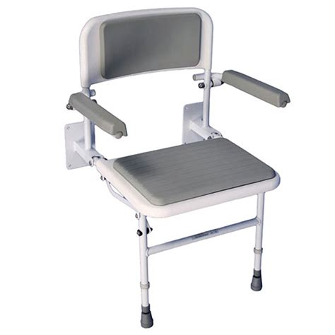 deluxe padded shower seat with back and arms wall