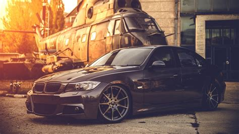 Bmw E90, Car, Helicopters, Black, Military, Bmw Wallpapers