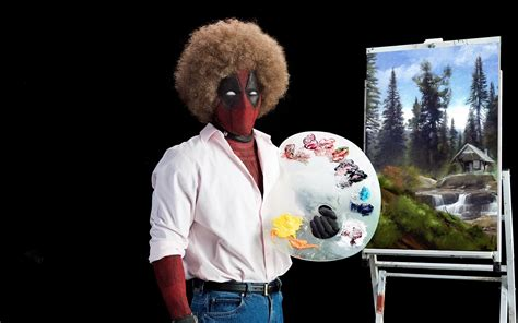 Deadpool 2 Ryan Reynolds As Bob Ross Painting In Afro Hair