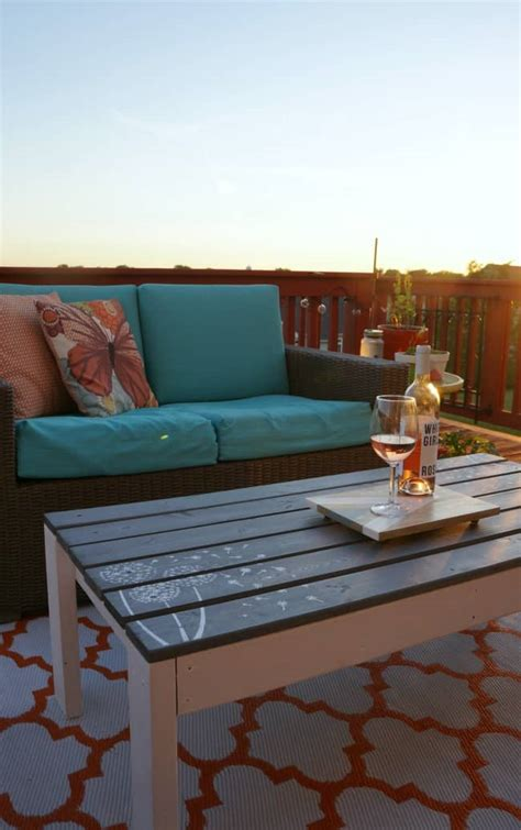 build paint  stencil  outdoor coffee table