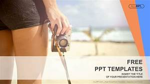 Sporty woman with old photo camera standing on the beach for Powerpoint theme vs template