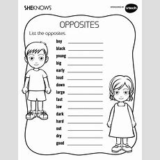 Keep Kids Busy With 51 Printable Games And Activities List The Opposites  Coloring, Free