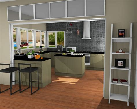 sun filled kitchen created  rendered  homebyme
