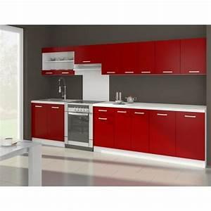 ultra cuisine complete avec plan de travail l 3m20 rouge With plan de travail cuisine rouge