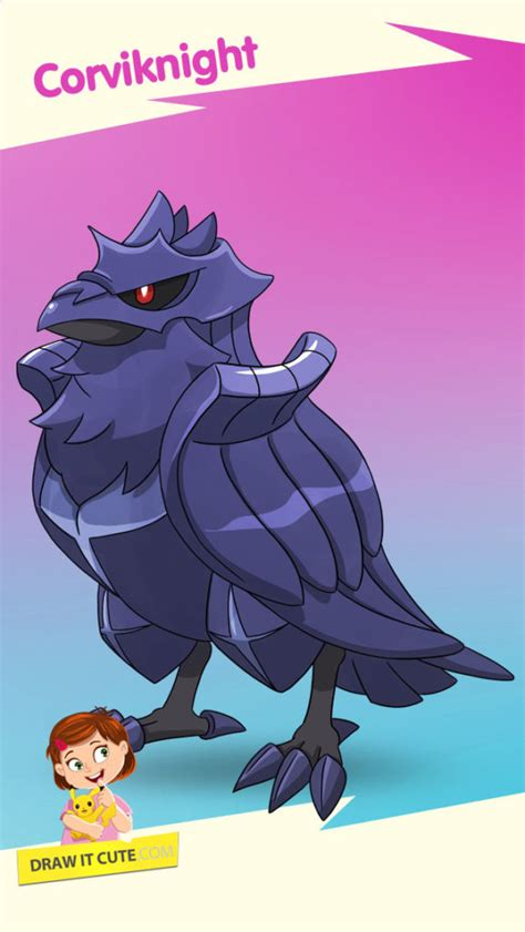 draw corviknight pokemon super easy  coloring