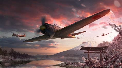 World Of Warplanes Wallpaper Mt Fuji World Of Warplanes Game Art Wallpaper 16746
