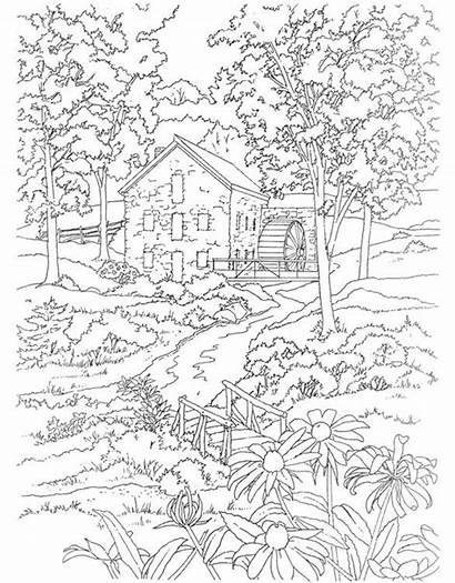 Coloring Scenery Adults Nature Adult Winter Printable