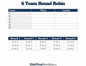 6 team round robin printable tournament bracket for 6 team draw template